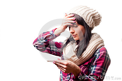 Woman with thermometer sick colds