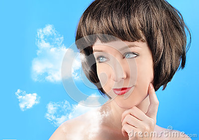 Woman Thinking with Clouds