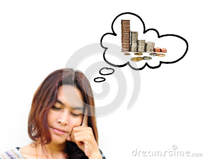 Woman thinking to money