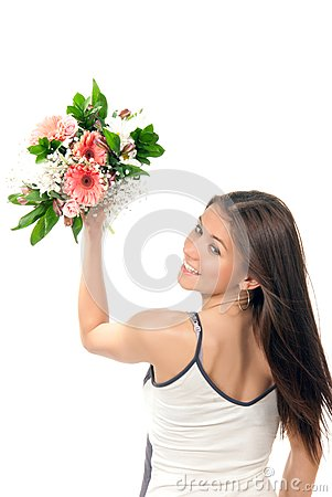 Woman throw away flowers roses wedding bouquet