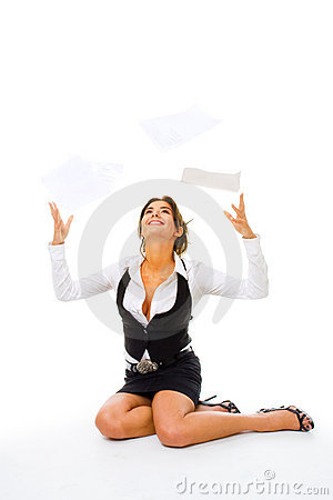 Woman throw away papers