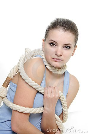 Woman tied up with rope