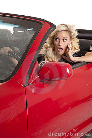 Woman about to crash car