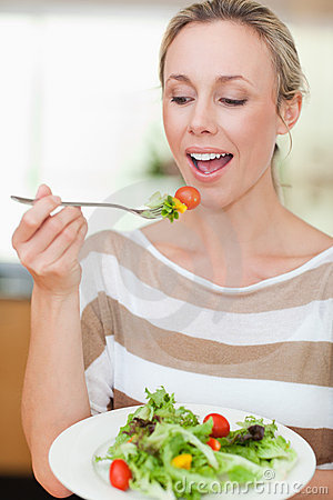 Woman about to eat some salad