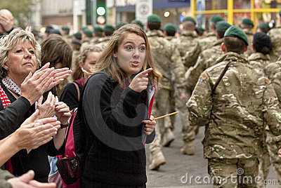 Woman to soldiers of 3 Commando Brigade Editorial Photo