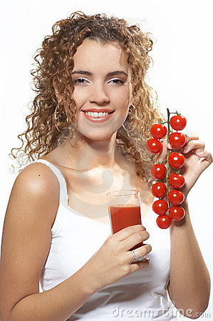 Woman with tomato juice. Photo N3