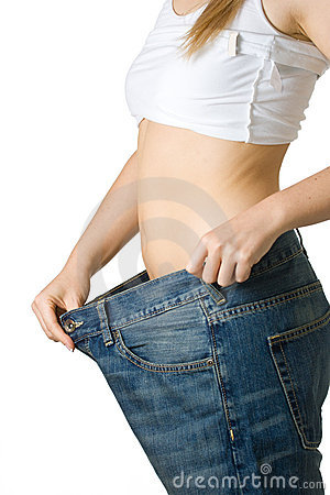 Woman in too big jeans