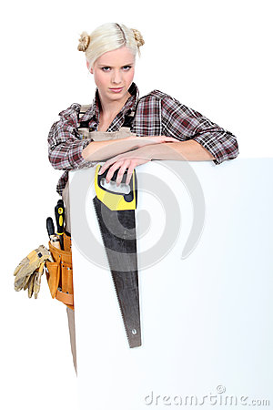 Woman with a tool belt