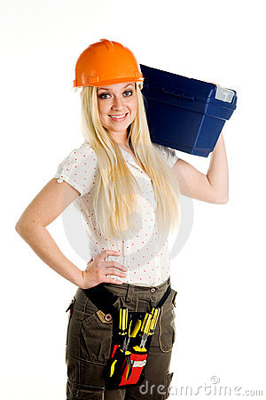 Woman and tool box
