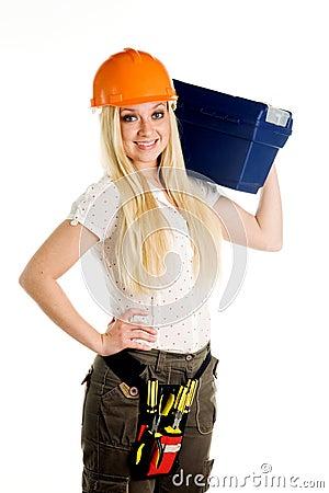 Woman and tool box