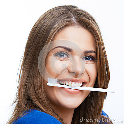 Woman with toothy brush