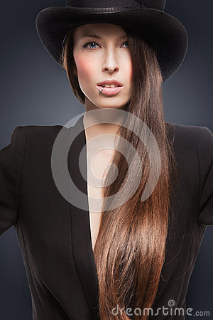Woman in top hat