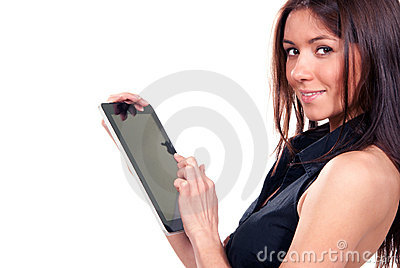 Woman touches typing digital tablet touch pad