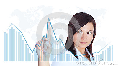 Woman touching business chart over white