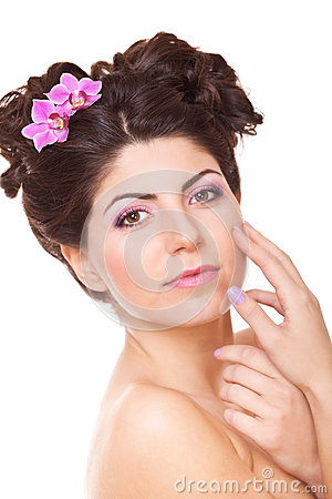 Woman touching her face