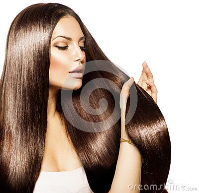 Woman touching her Long Hair