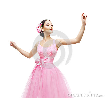 Free Woman Touching In Pink Dress, Fashion Model High Waist Gown Stock Photos - 53102223