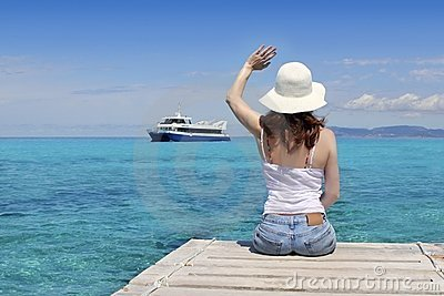 Woman tourist illetas Formentera goodbye