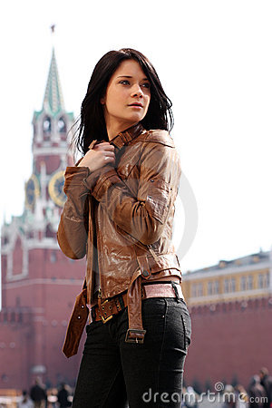 Woman tourist in Moscow (Russia)