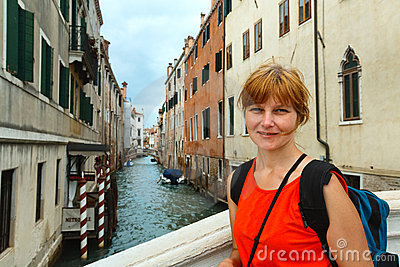 Woman tourist in Venice