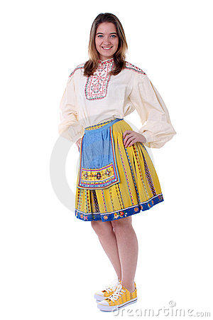 Woman in traditional estonian clothing