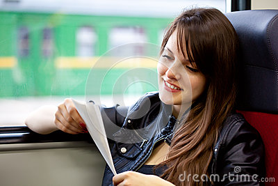 A woman in the train