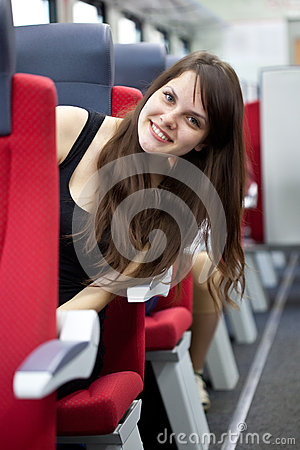 Woman is in the train