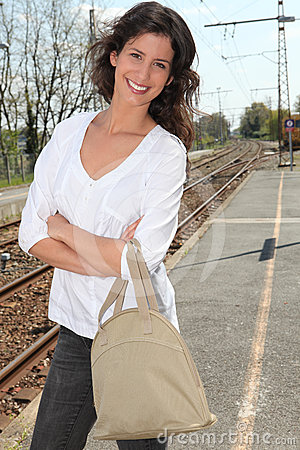 Woman on a train platform