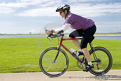 Woman Training on Bicycle