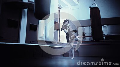 Woman Training In A Gym Kicking A Training Bag Free Public Domain Cc0 Image