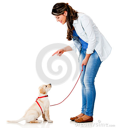 Woman training her dog