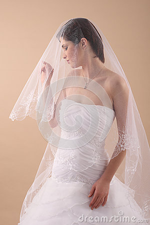 Woman with Transparent Wedding Veil