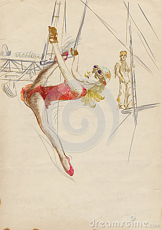 Woman on a trapeze