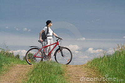 Woman travel with bike