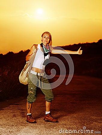 Woman traveling hitchhike