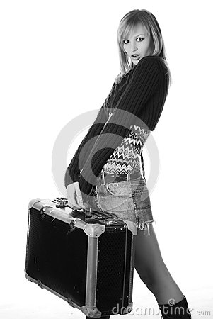 Woman with travelling bag