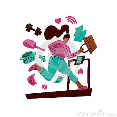 Woman on a treadmill runs away from problems. Girl surrounded by household chores. Concept of hard working. multitasking print. Stock Photo