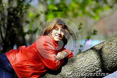 Woman on Tree Limb