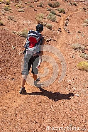Woman trekking in USA