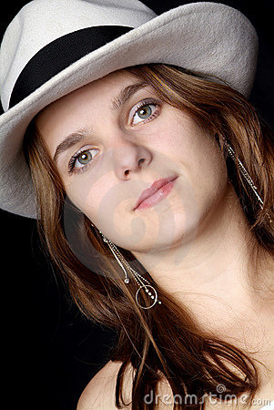 Woman with trendy white hat