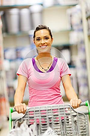 Woman trolley supermarket