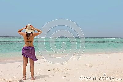 Woman on a tropical beach