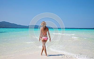 Woman at a tropical beach