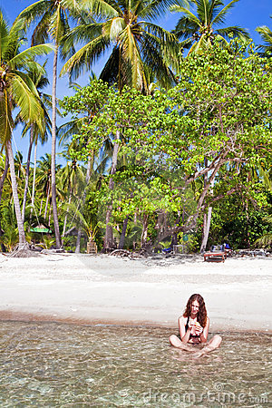 Woman at the tropical beach