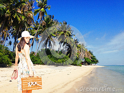 Woman on tropical vacation