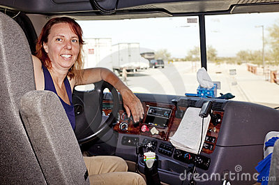 woman truck driver at the wheel stock photos - image 19279253