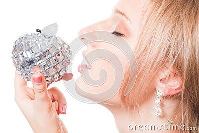 Woman try tasty apple