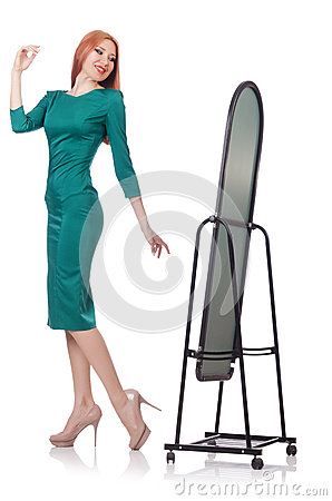 Woman trying new clothing