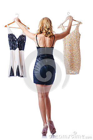 Woman trying new dresses