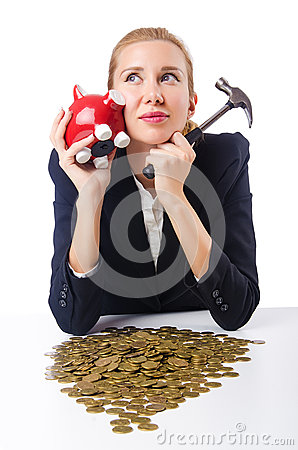 Woman trying to break  piggybank
